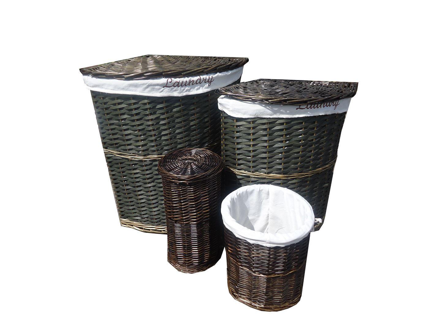 Wicker Corner Laundry Basket With Lid Linning Bathroom