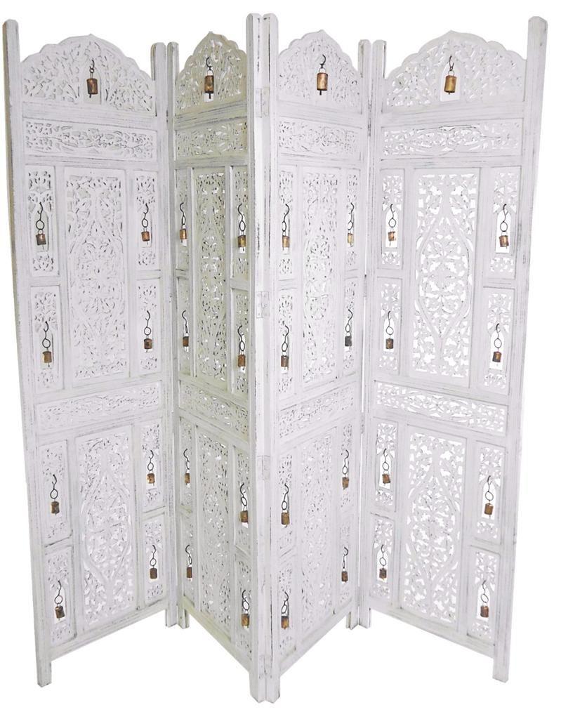 Hand Carved Wooden Room Divider Floor Screen ~ Hand carved panel indian wooden bells design folding