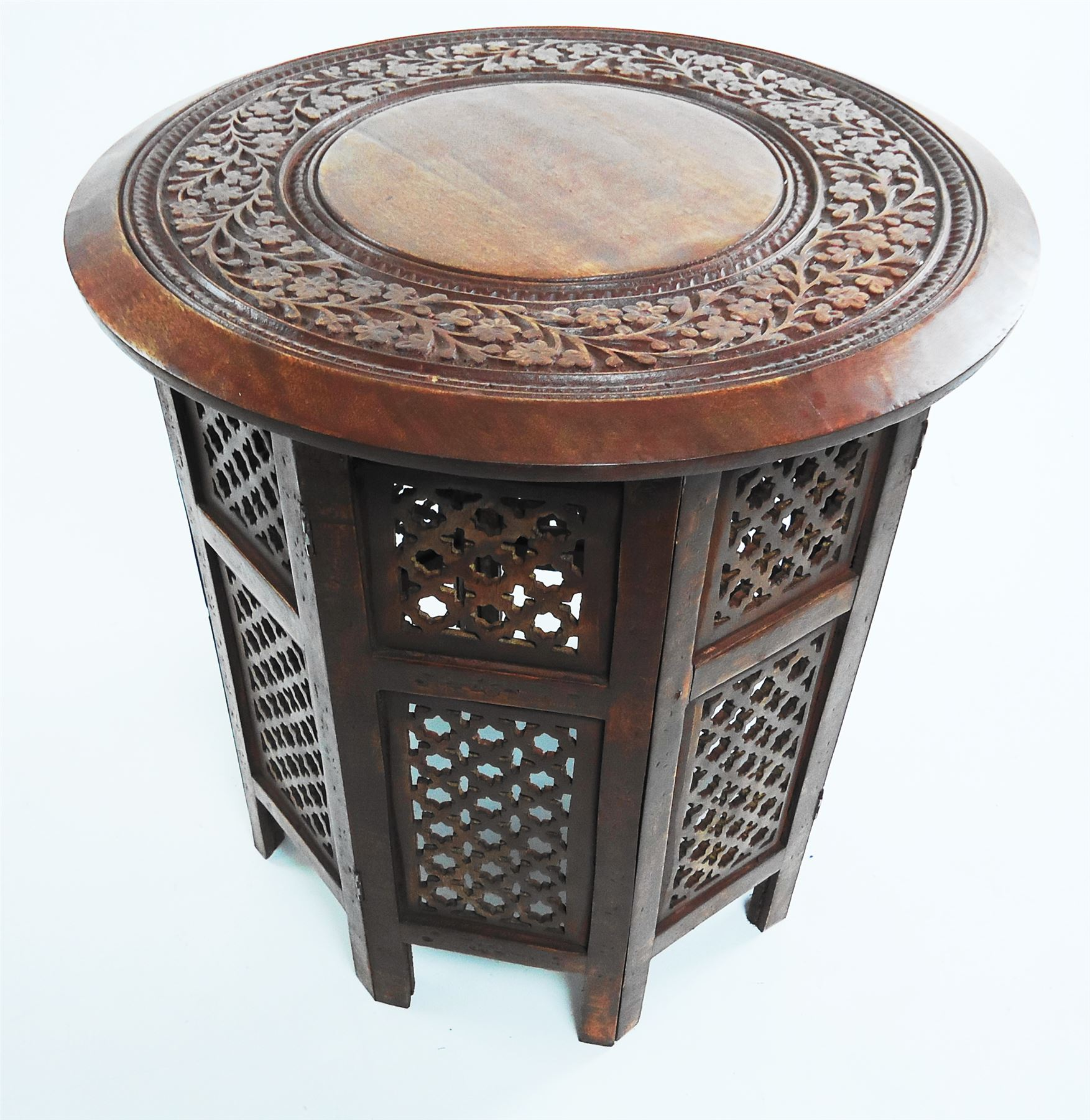 Beautiful round brown white hand carved indian shesham Beautiful end tables