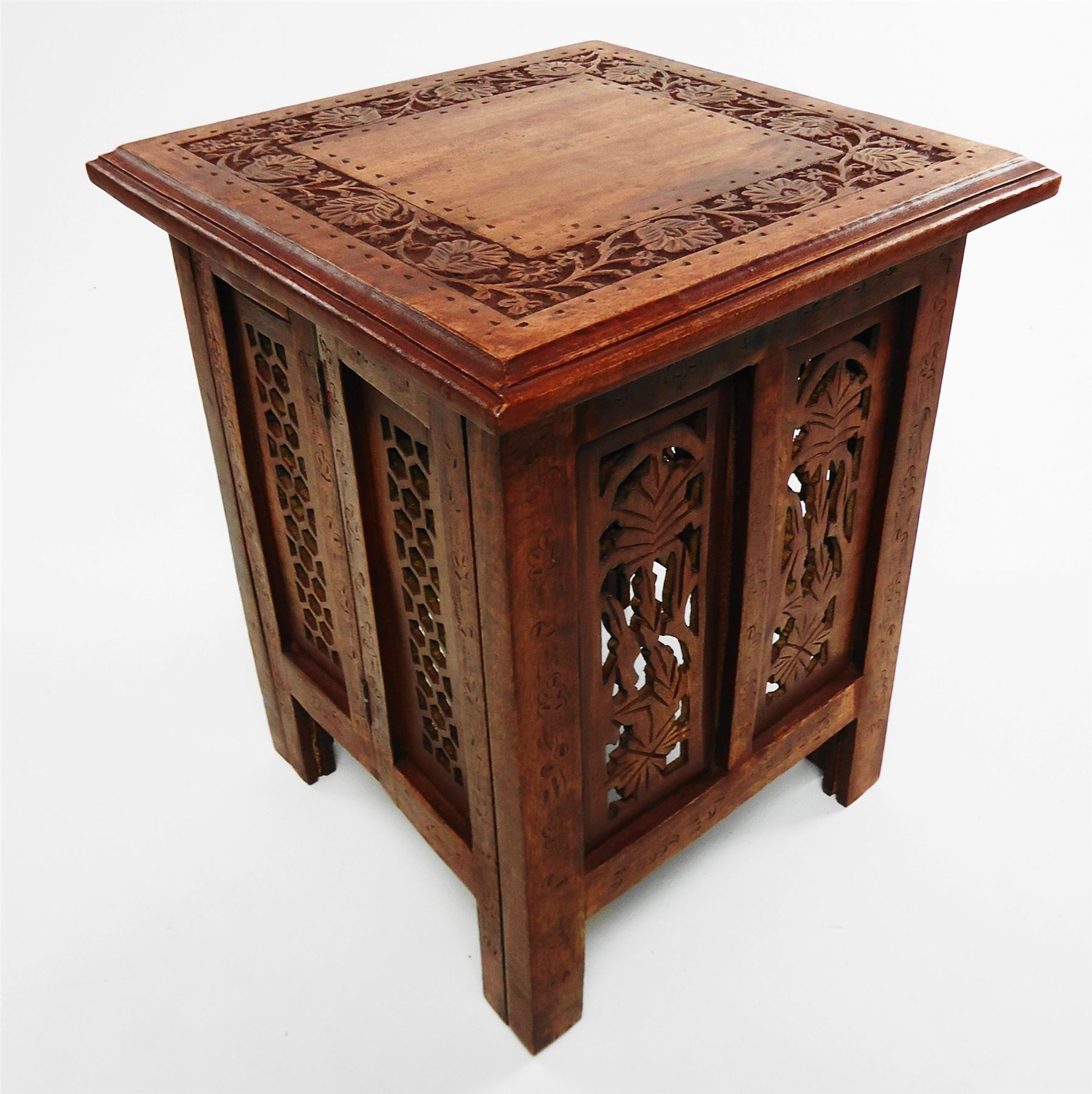 Beautiful antique effect hand carved indian wooden table side coffee tables ebay Carved coffee table