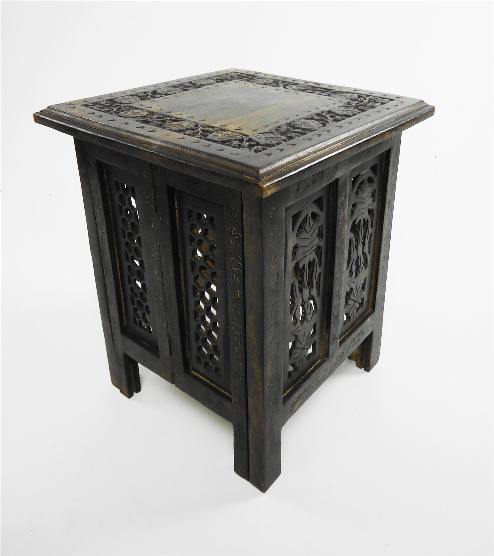 Beautiful antique effect hand carved indian wooden table for Coffee tables on ebay