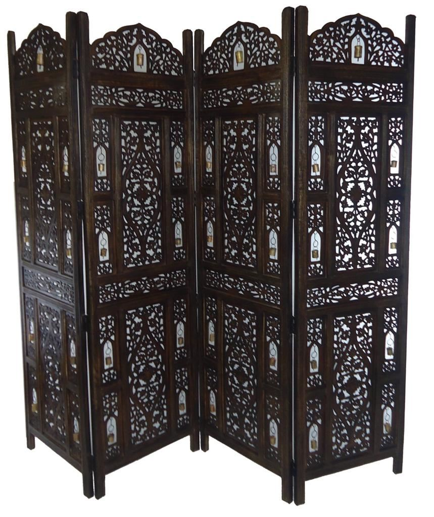 4 panel carved heavy duty indian wooden bells design for Four panel room divider screen