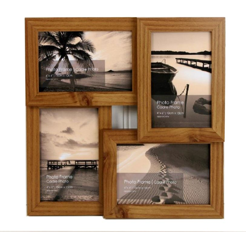 4, 6 or 9 Multi Picture Collage Family & Friends Pine Wall Photo ...