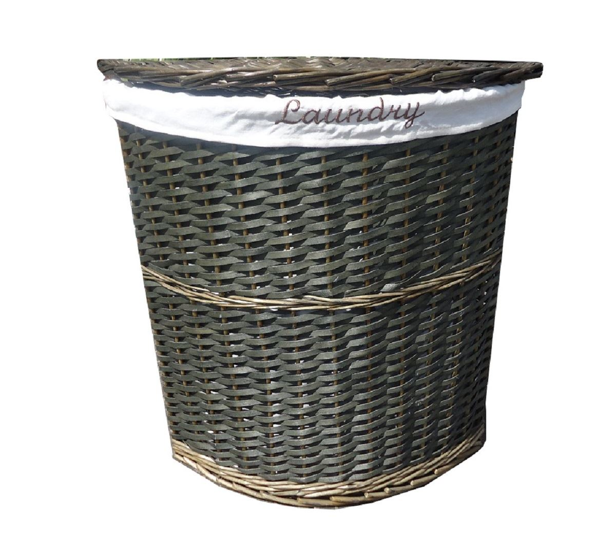 Wicker Corner Laundry Basket With Lid Linning Bathroom Storage