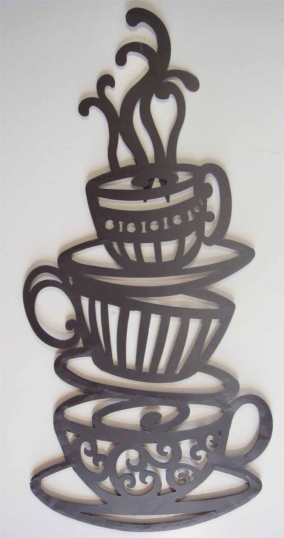 Coffee Cup Or Tea Cup Trio Metal Wall Art Stylish