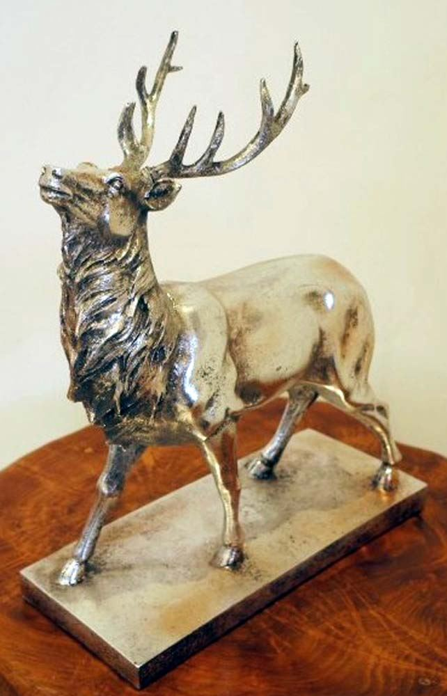 New Silver Stag Deer With Antlers Figurine Sculpture