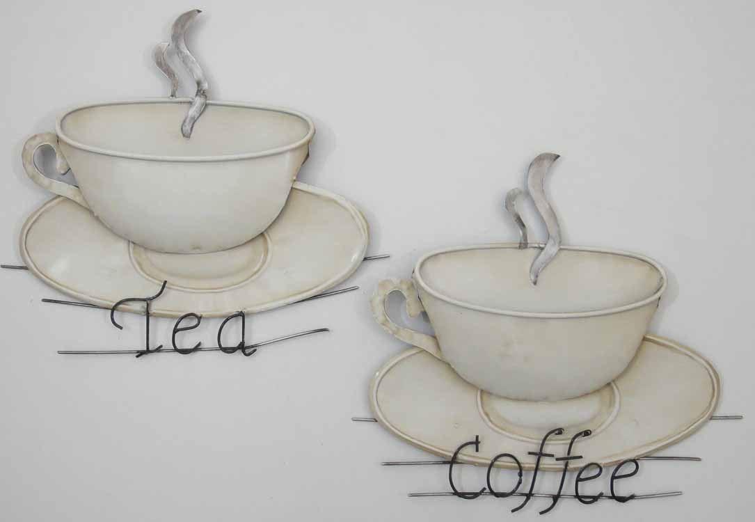 Wall art metal wall art shabby chic tea coffee cups ebay for Tea and coffee wall art