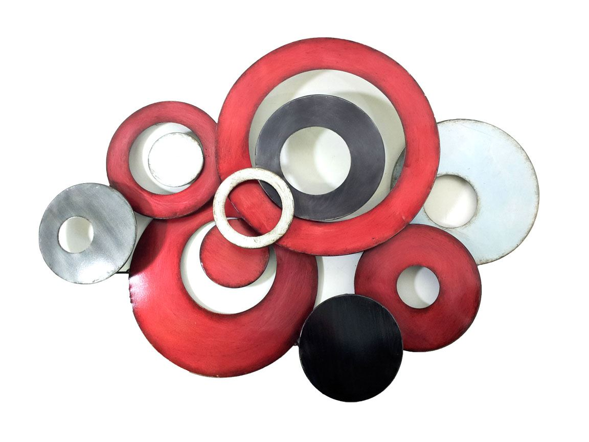 New metal wall art decor sculpture red grey linked for Red wall art