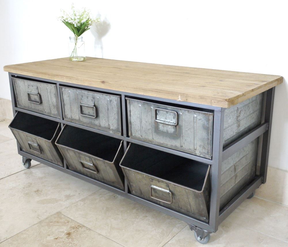 Antique Coffee Tables With Drawers: Retro Industrial Style Vintage Coffee Table Side Drawer