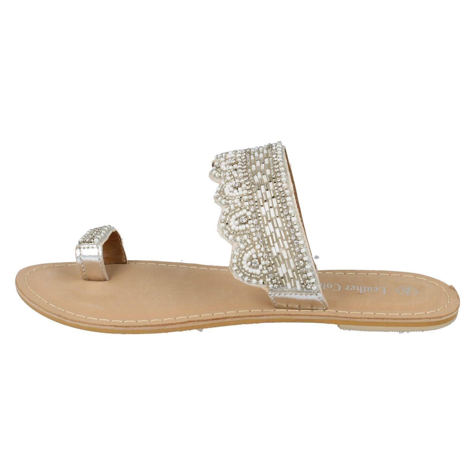 spot on slip on toe loop beaded flip flop sandals