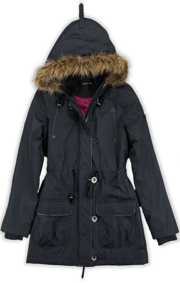 e9ae7f9180ccd NEW LADIES BRAVE SOUL LJK AVA HOODED PARKA COAT WITH FAUX FUR TRIM ...