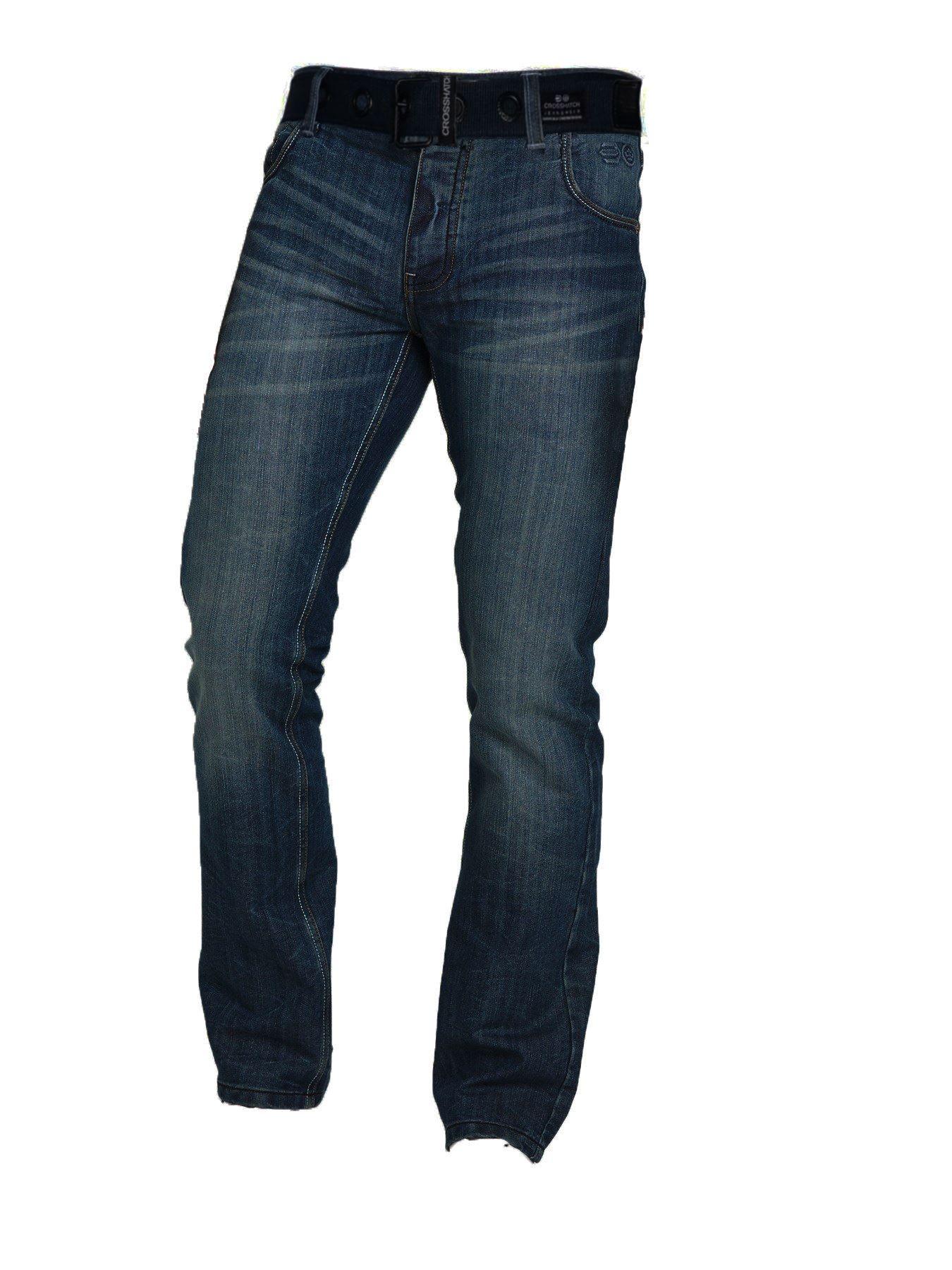 New-Mens-Crosshatch-Designer-Regular-Fit-Denim-Straight-Leg-Jeans