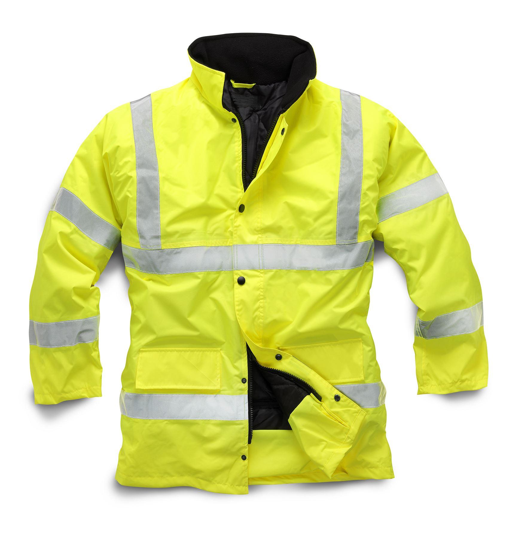 New Mens Work Hi Vis Lined Padded Winter Bomber 3 4 Jacket