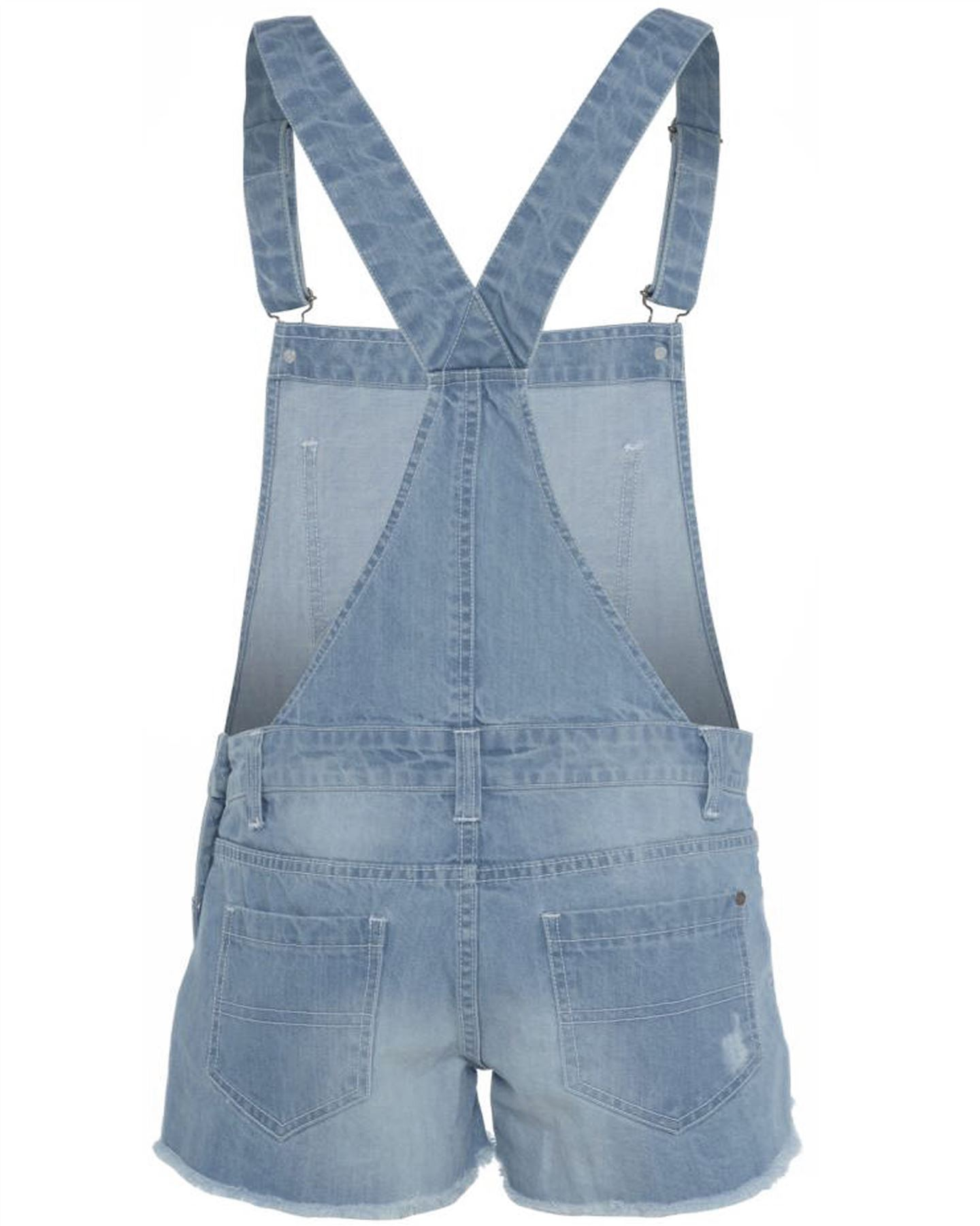 neue damen jeans helle waschung overall latzhose shorts ebay. Black Bedroom Furniture Sets. Home Design Ideas