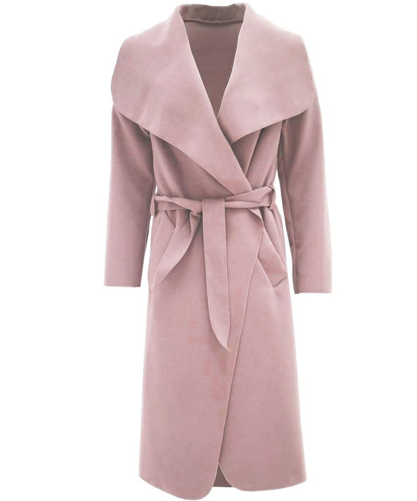 NEW LADIES KIM KARDASHIAN INSPIRED OVERSIZED WATERFALL BELTED COAT JACKET