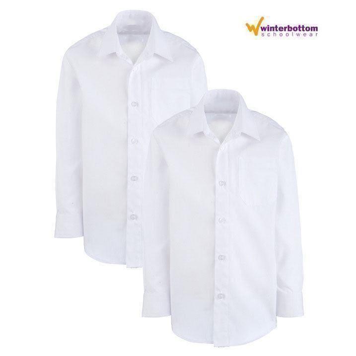 Boys Non Iron Twin Pack Long Short Sleeve School Shirt