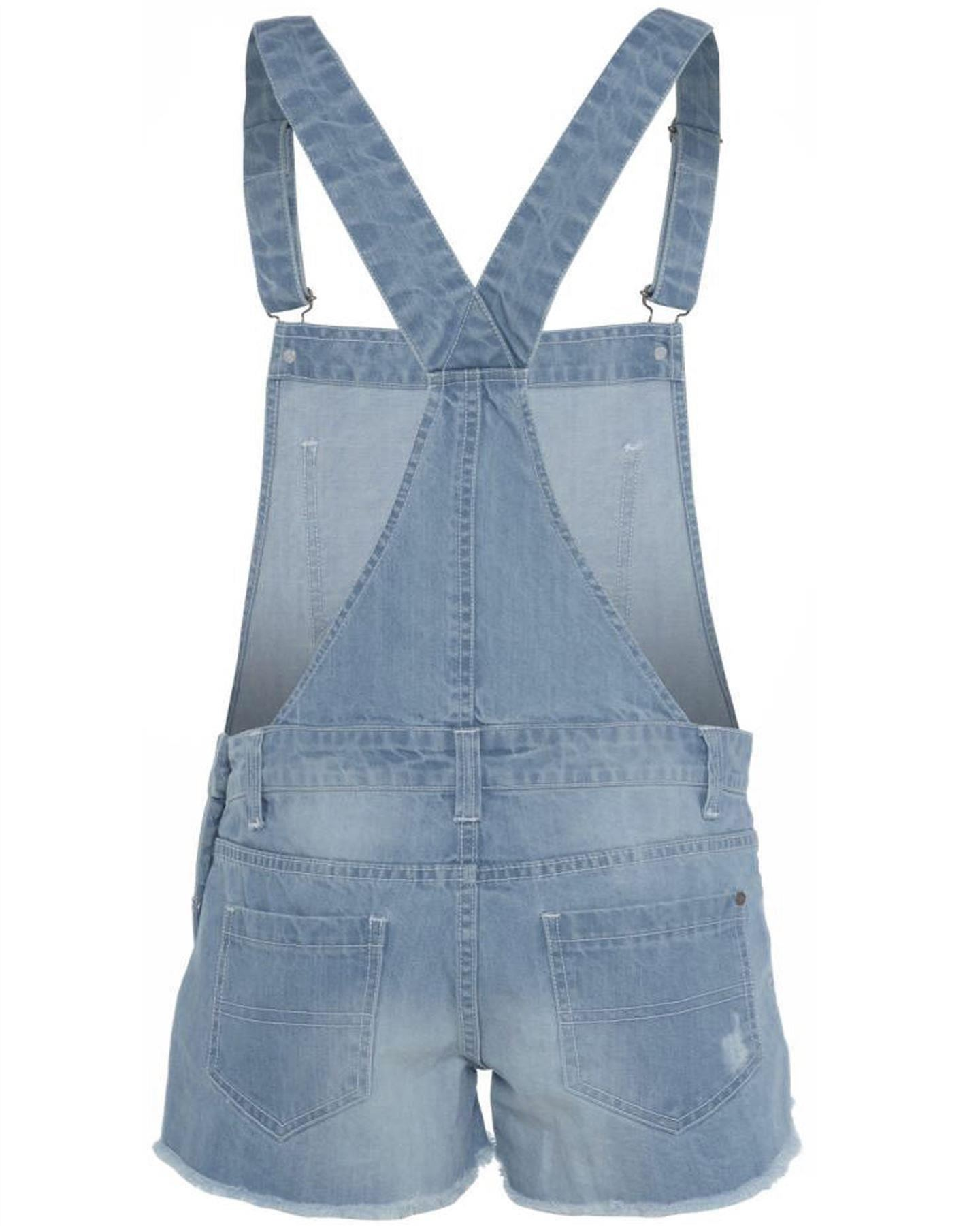 neue damen jeans helle waschung overall latzhose shorts ebay. Black Bedroom Furniture Sets. Home Design Ideas