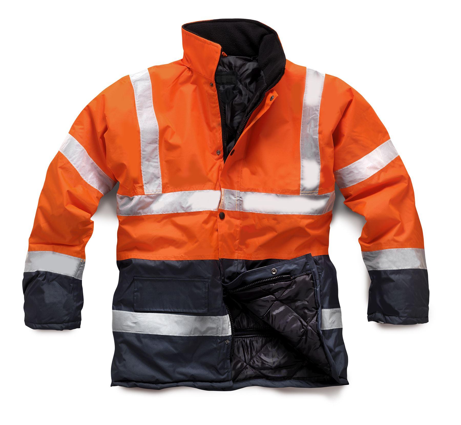 new mens work hi vis lined padded winter bomber 3 4 jacket. Black Bedroom Furniture Sets. Home Design Ideas