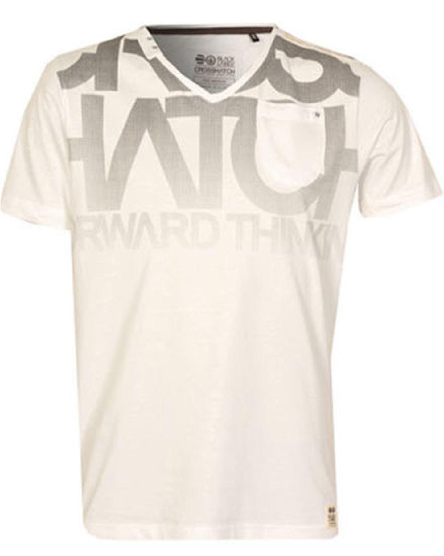 BNWT Mens Crosshatch Graphic 'LAMONTE' V Neck T-shirt Grey BLue White S-XXL