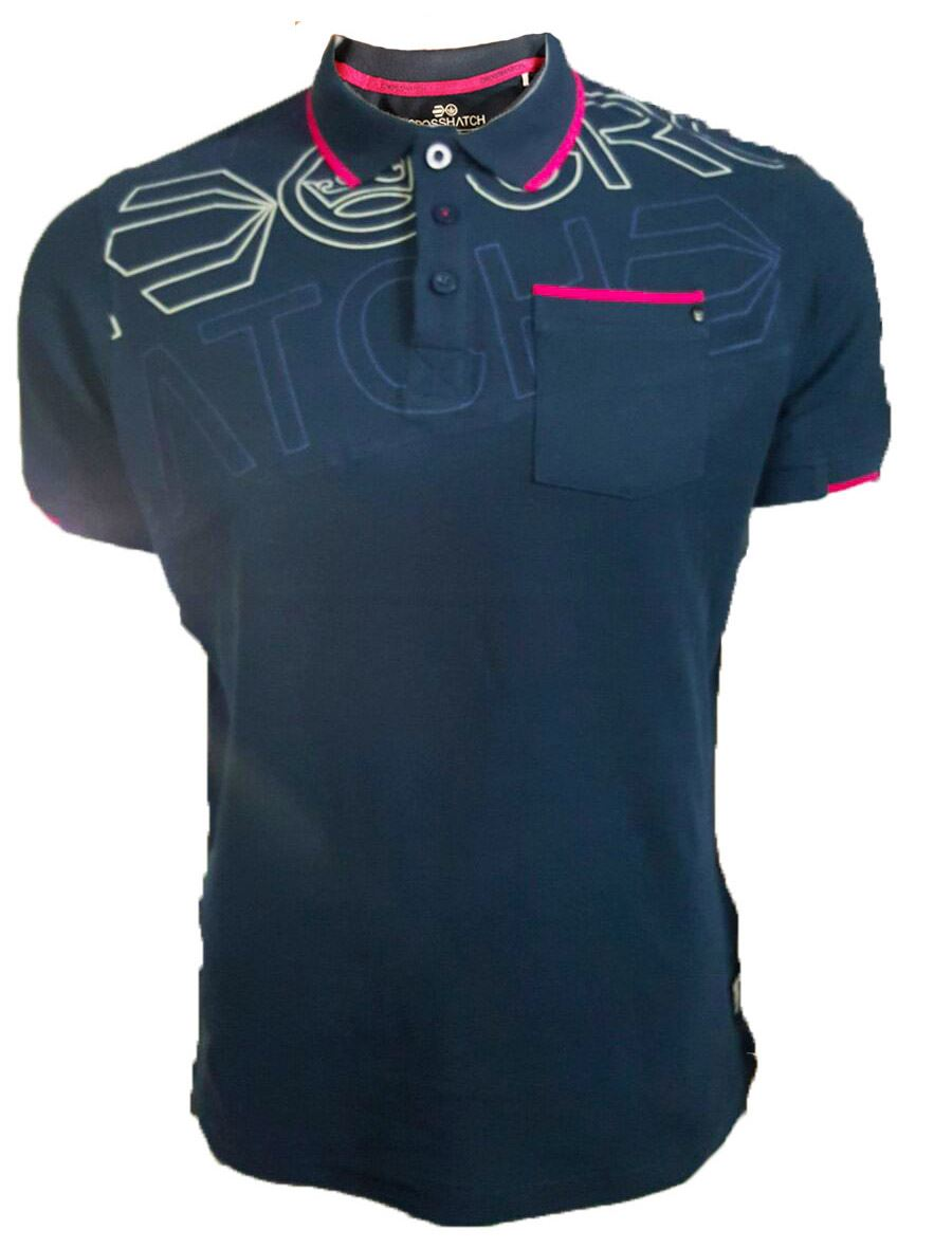 Mens crosshatch graphic faithless pacific polo t shirt s m for Xxl mens polo shirts
