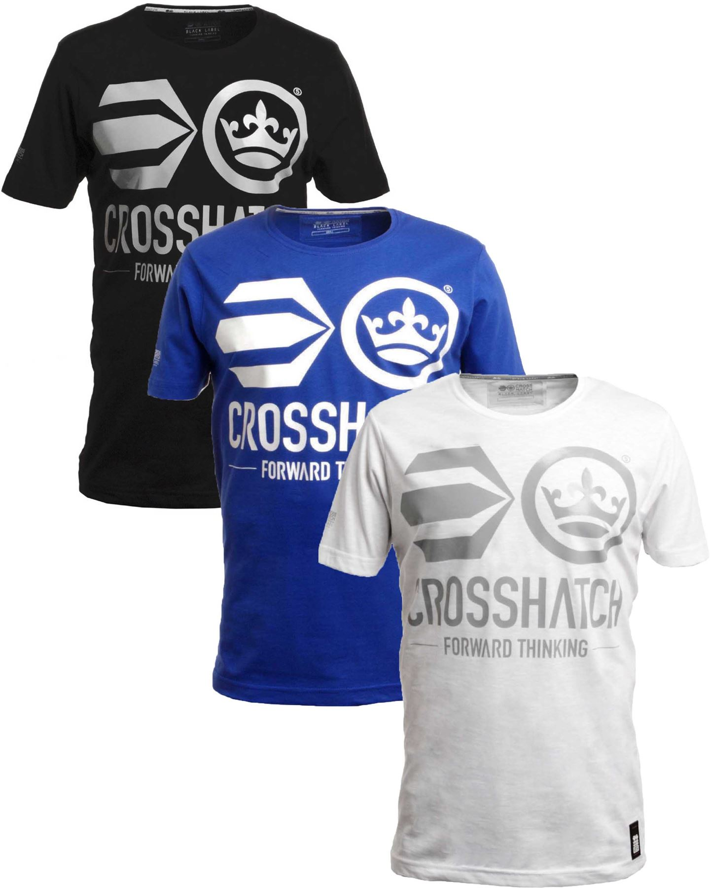 bnwt mens crosshatch graphic antler slub cotton t shirt black blue