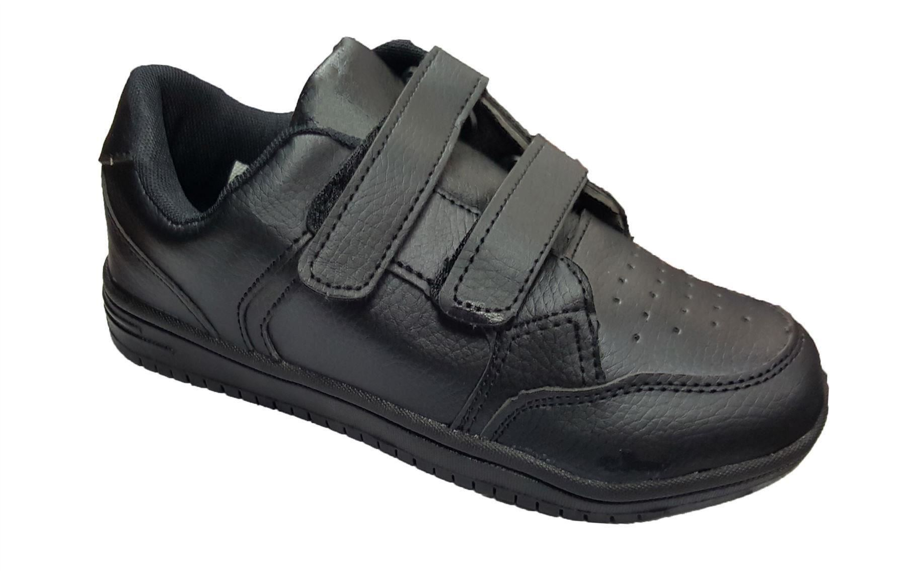 Boys Black Velcro School Shoes