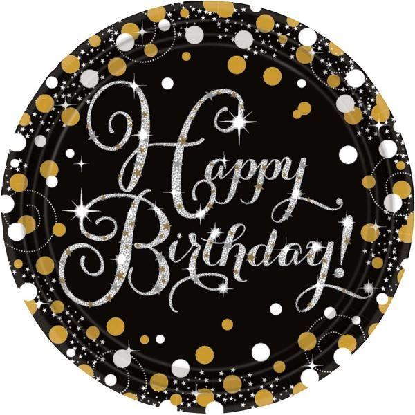 El Dorado Blue Card >> Happy Birthday Party Gold Celebration Sparkle Tableware Glitz Bling Glitter | eBay