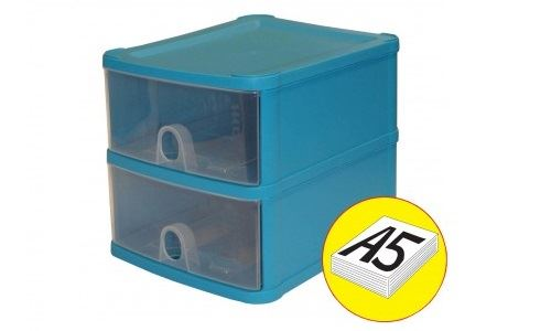 Handy 2 Drawer Tower Storage Unit Pull Out Draws A5 Desktop Drawer Store System