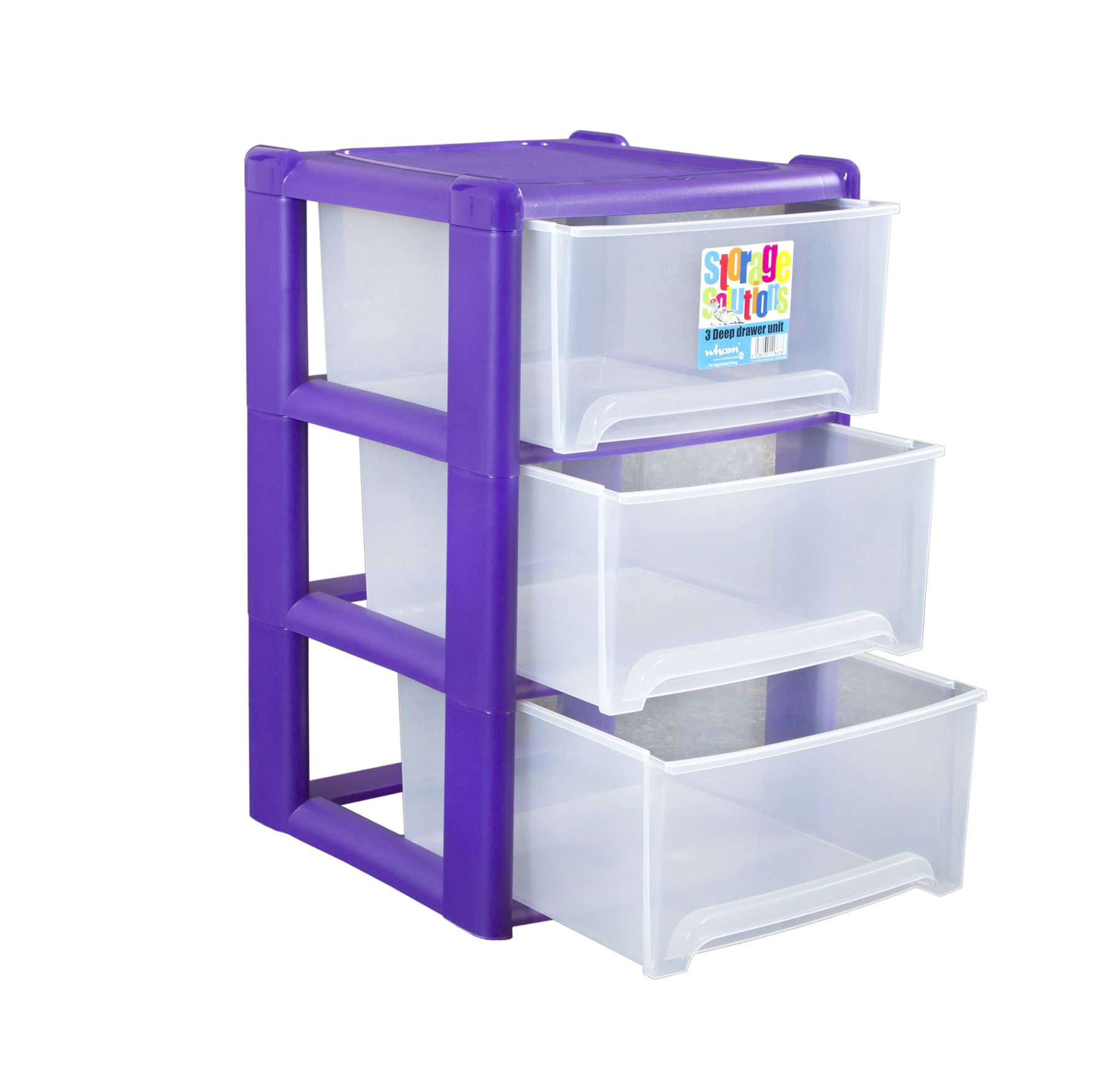 wham plastic deep 3 drawer a4 tower storage unit rear wheels pull out drawers ebay. Black Bedroom Furniture Sets. Home Design Ideas