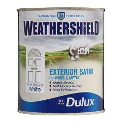 Dulux weathershield satin pure brilliant white 750ml paint - Weathershield exterior paint system ...