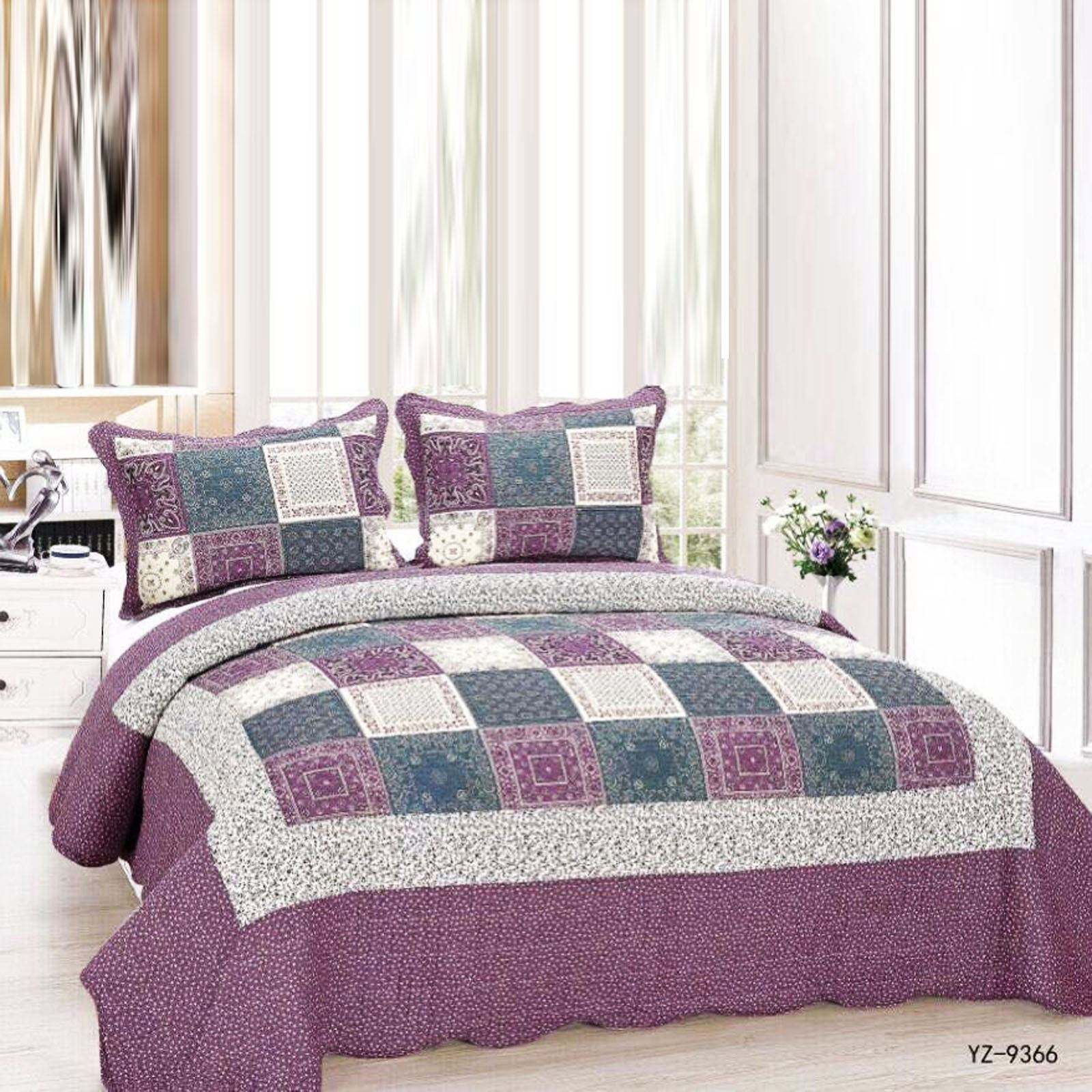 new bedspread pillow cover floral throw jacquard quilted patchwork set honeycomb ebay. Black Bedroom Furniture Sets. Home Design Ideas