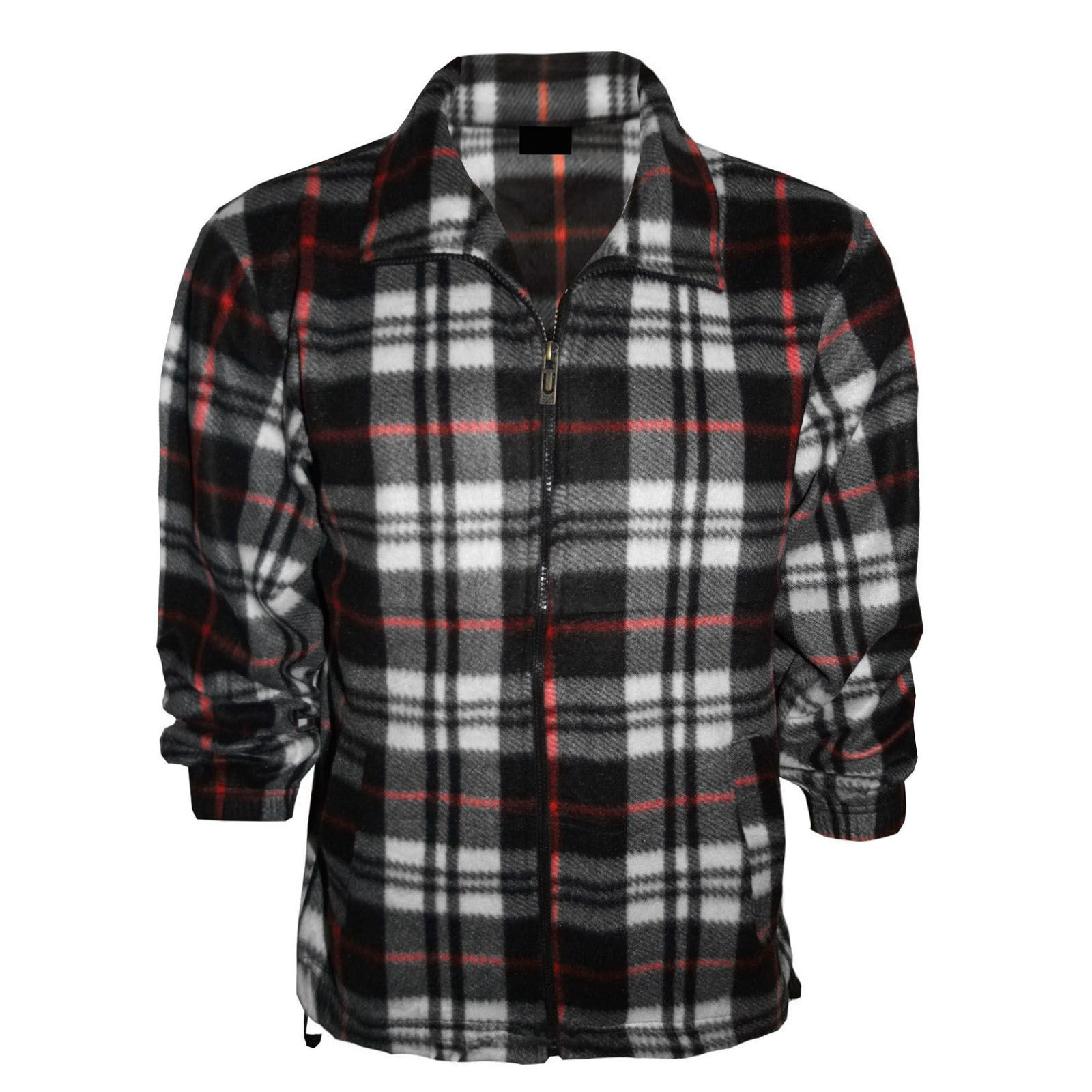 mens fleece shirts check lumberjack thermal flannel tops
