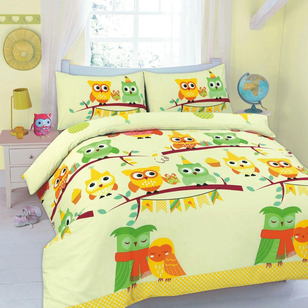 Imprime-couette-housses-de-couette-hibou-paris-literie-polyester-coton-taies-d-039-oreiller