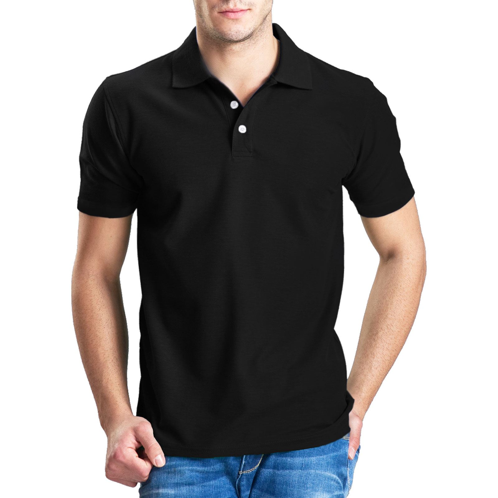 Mens plain poly cotton pique polo t shirt ribbed collar for Mens collared t shirts