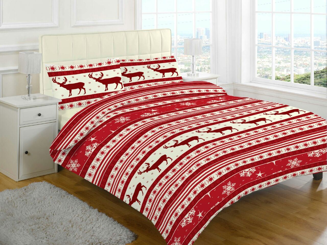 XMAS-DUVET-COVER-WITH-PILLOW-CASE-NOVELTY-REINDEER-