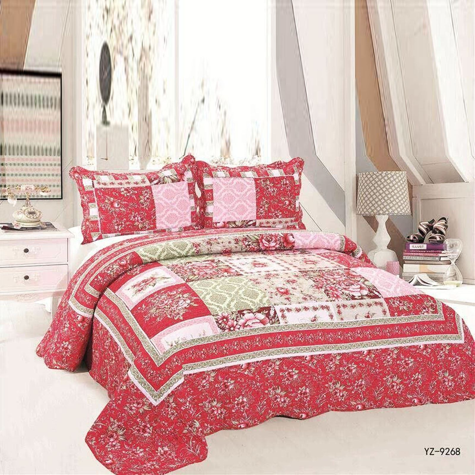 new luxury bedspread pillow cover throw jacquard quilted patchwork set honeycomb ebay. Black Bedroom Furniture Sets. Home Design Ideas