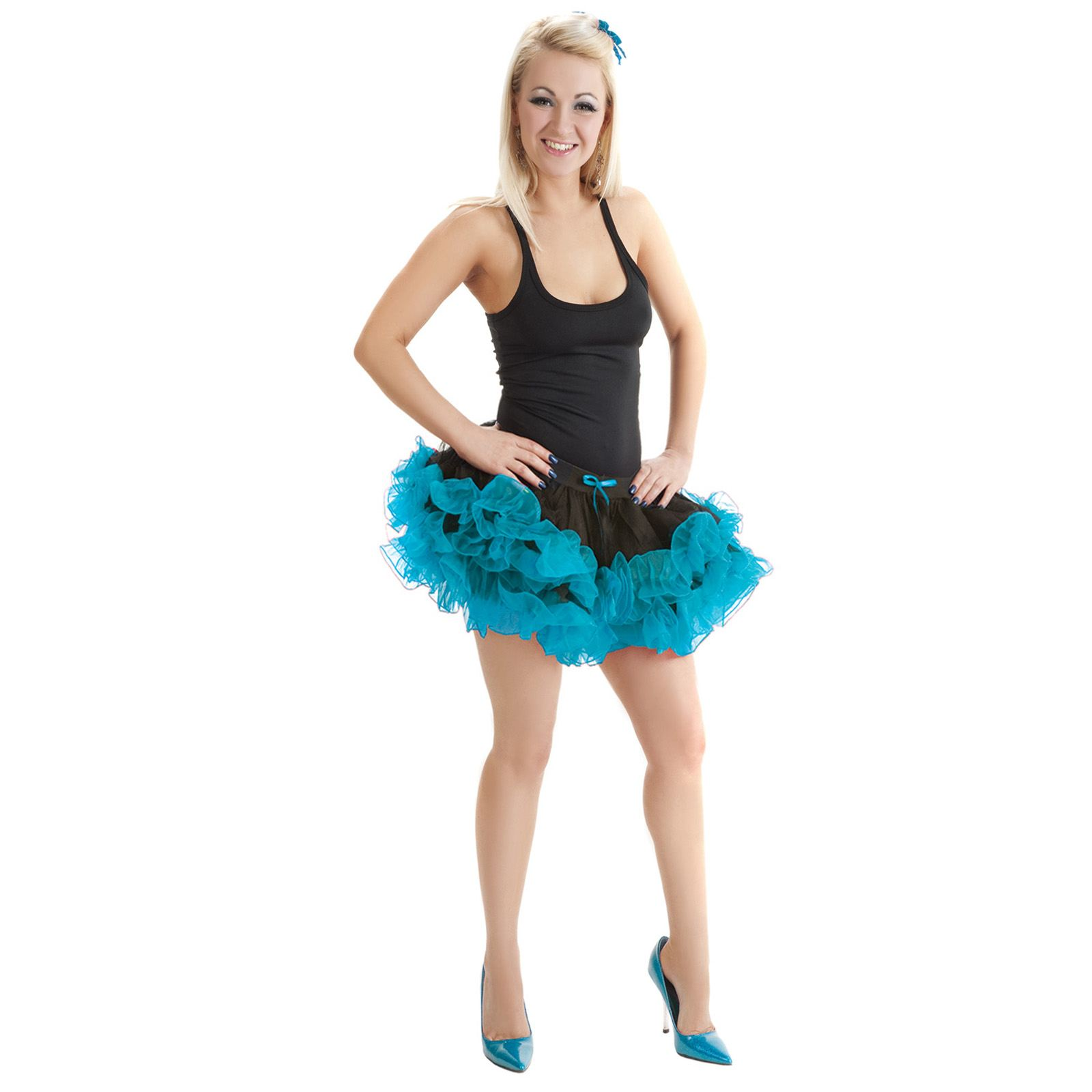 GIRLS WOMENS LADIES 2 LAYER RUFFLE TUTU SKIRT HEN NIGHT