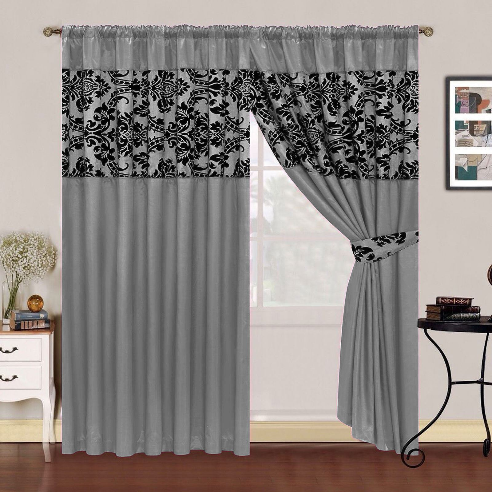 Imperial lisa curtains fully lined half flock damask for Living room curtains 90x90
