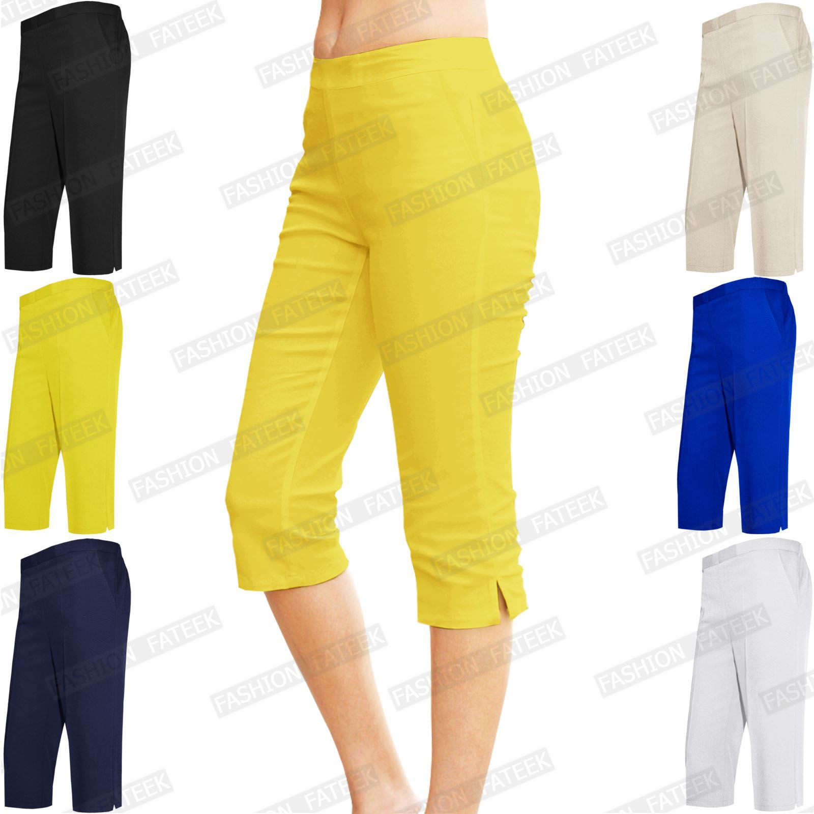 WOMENS LADIES 3/4 SHORTS CAPRI CROPPED TROUSERS POCKETS HALF ...