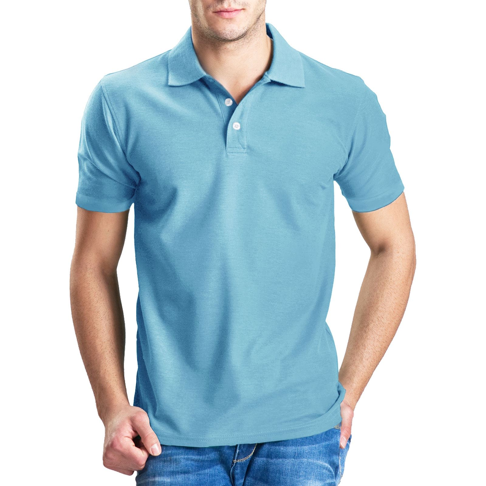 Mens plain poly cotton pique polo t shirt ribbed collar for Mens ribbed t shirts