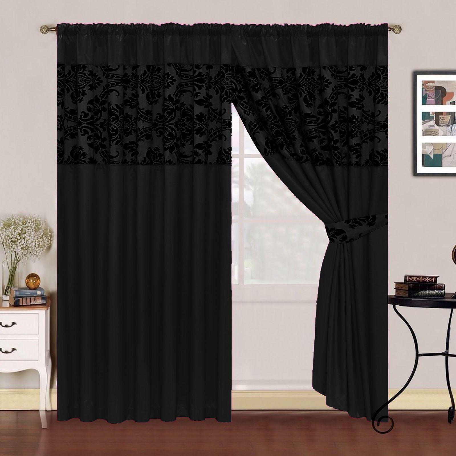 Luxury Curtains Fully Lined Faux Silk Half Flock Damask Pencil Pleat Tie Backs Ebay