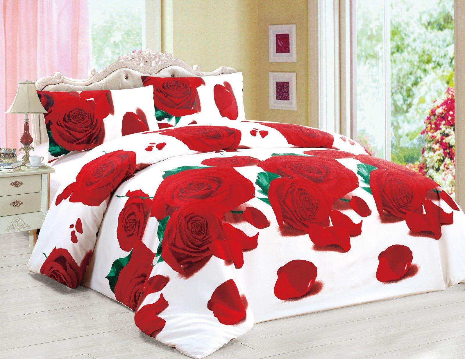 3d effect bedding set floral animal print duvet cover fitted sheet pillows cases ebay. Black Bedroom Furniture Sets. Home Design Ideas