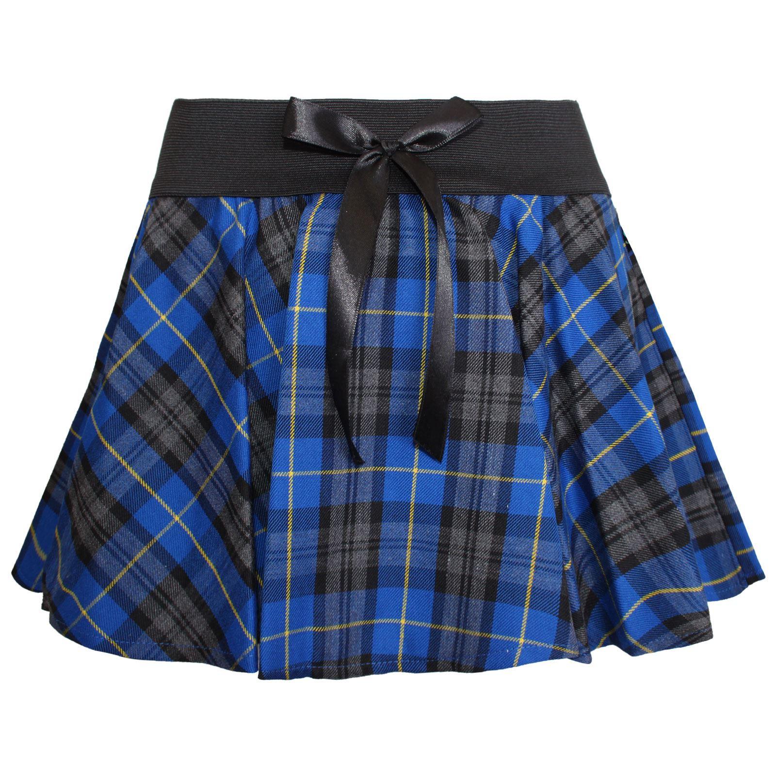 mini skirt bow tartan pleated micro skater womens