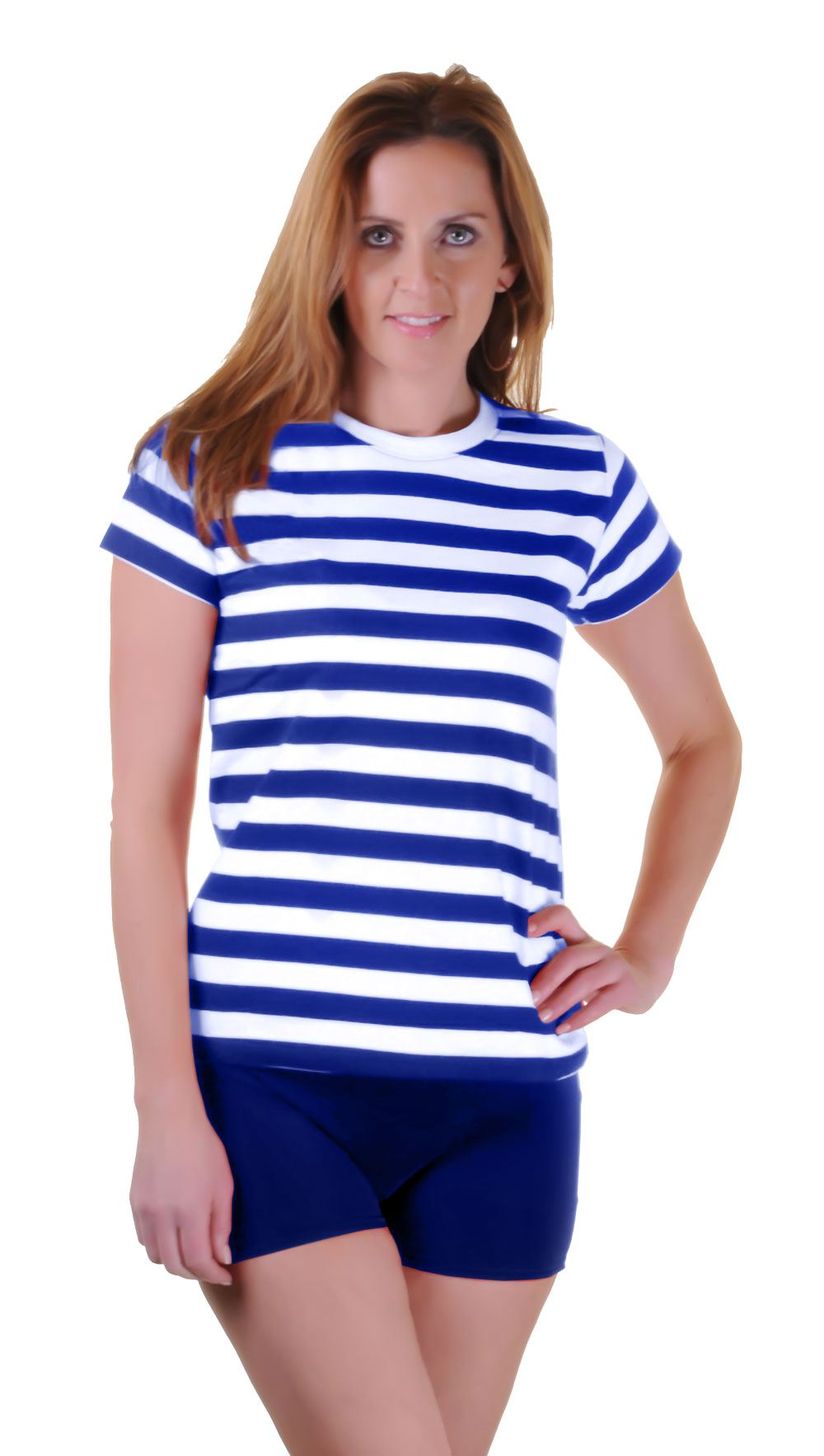 New mens womens blue red white striped t shirt book for Red blue striped shirt