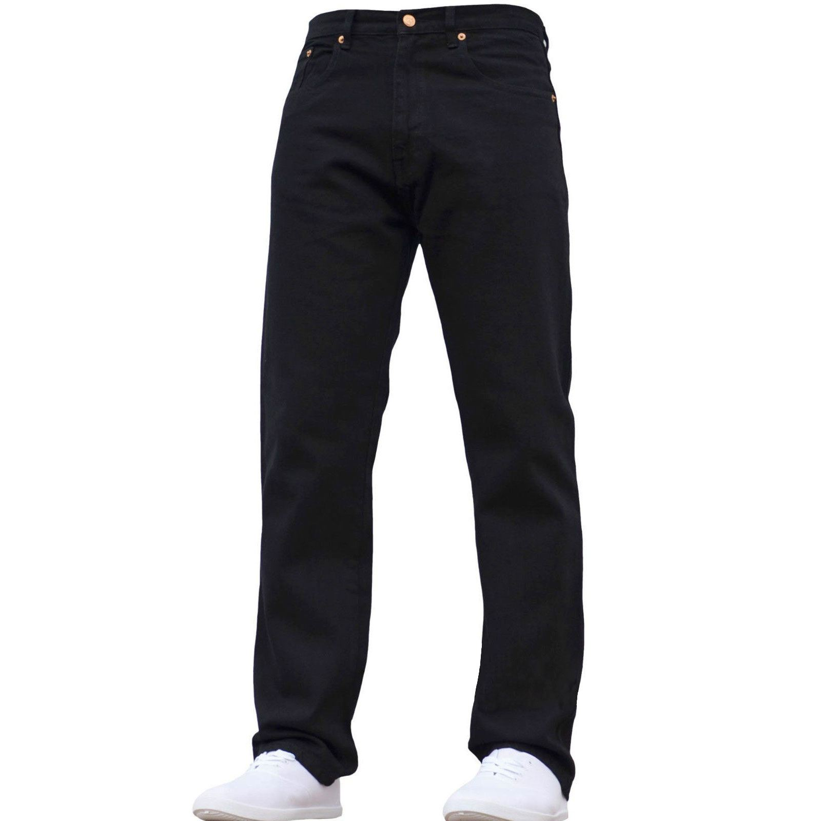 Mens Straight Leg Denim Jeans Work Basic Wash Trousers Bottom Regular Fit Pants Ebay