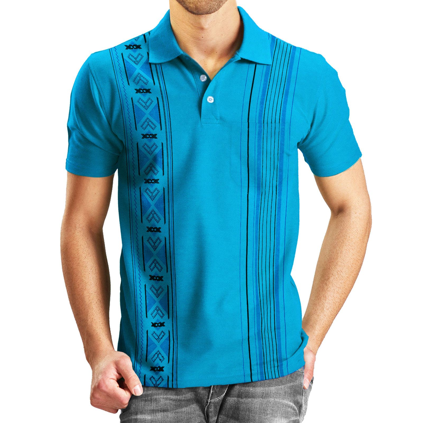 New mens aztec print polo t shirt tee top short sleeve for Best short sleeve shirts