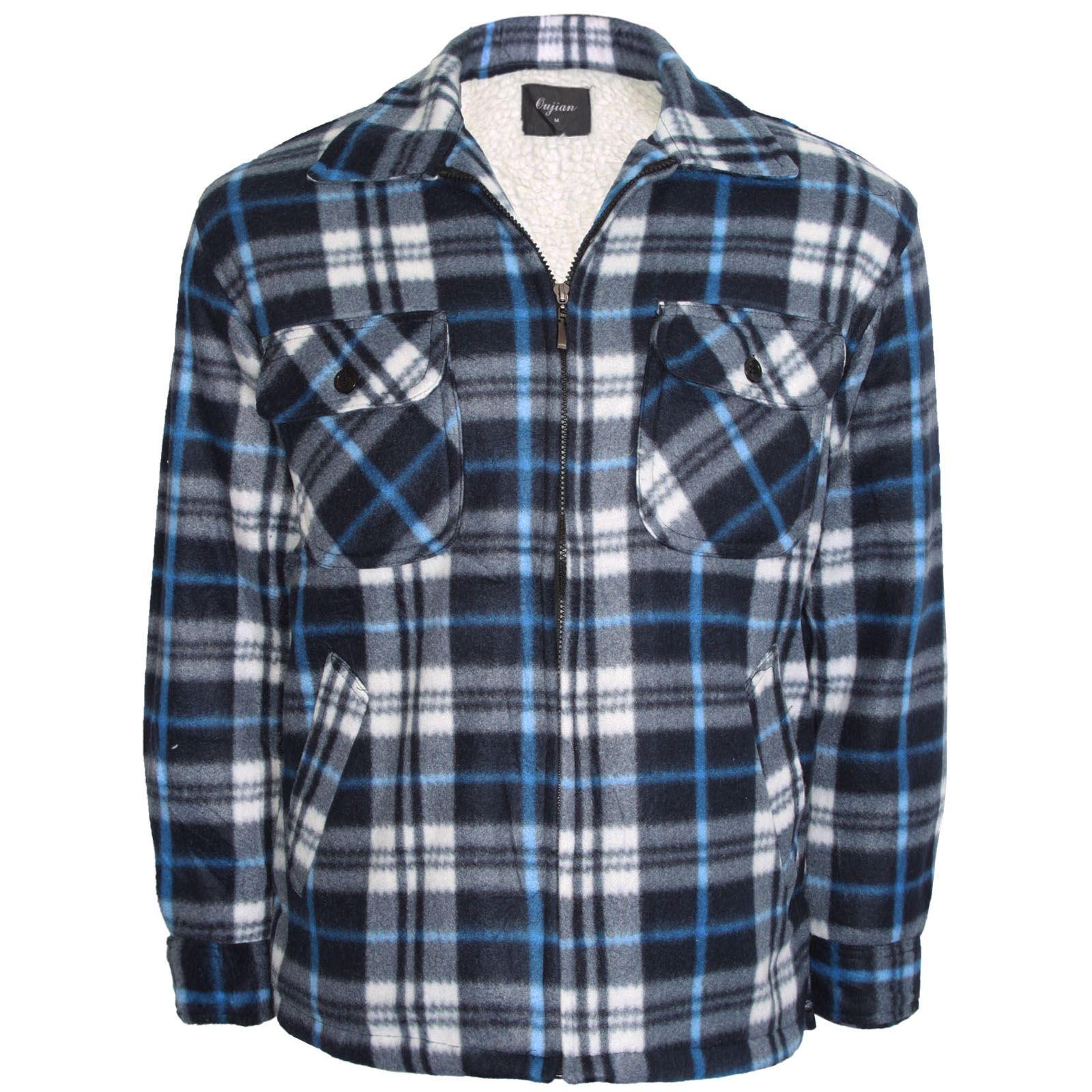 Mens Fleece Lined Sherpa Shirt Thick Warm Padded Lumber