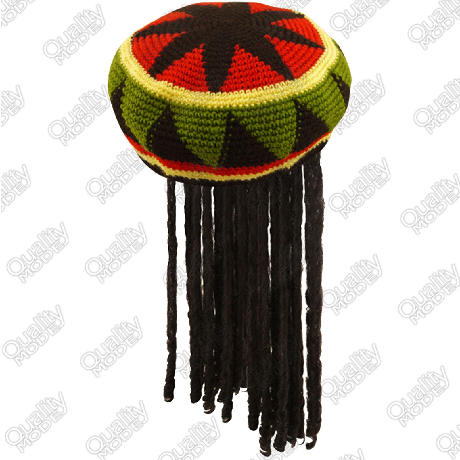 Rastafarian 2: ADULT RASTA JAMAICAN HAT BOB MARLEY KNITTED CAP WIG DREAD