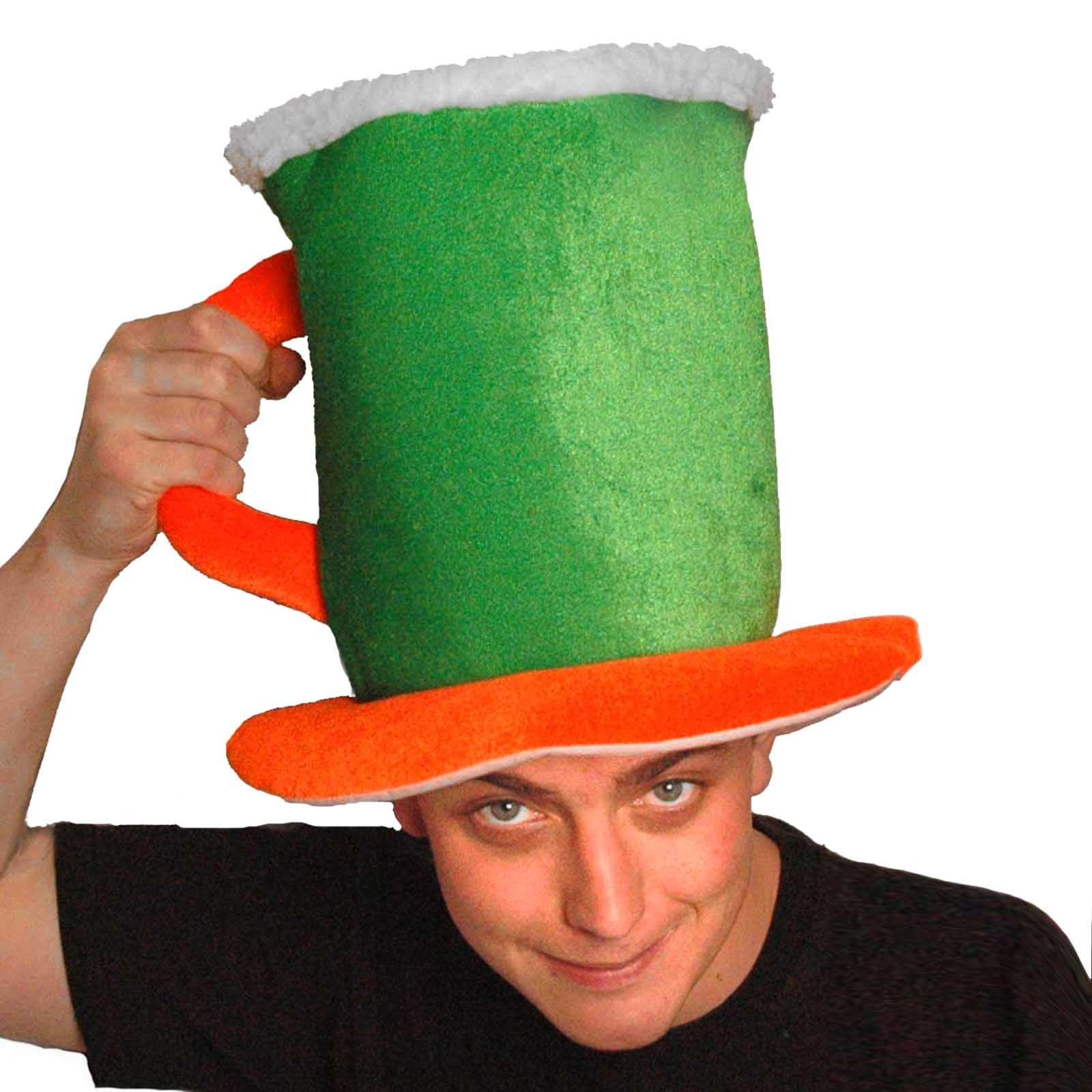 Irish leprechaun chapeau avec barbe st patrick/'s day shamrock velours cap fancy dress