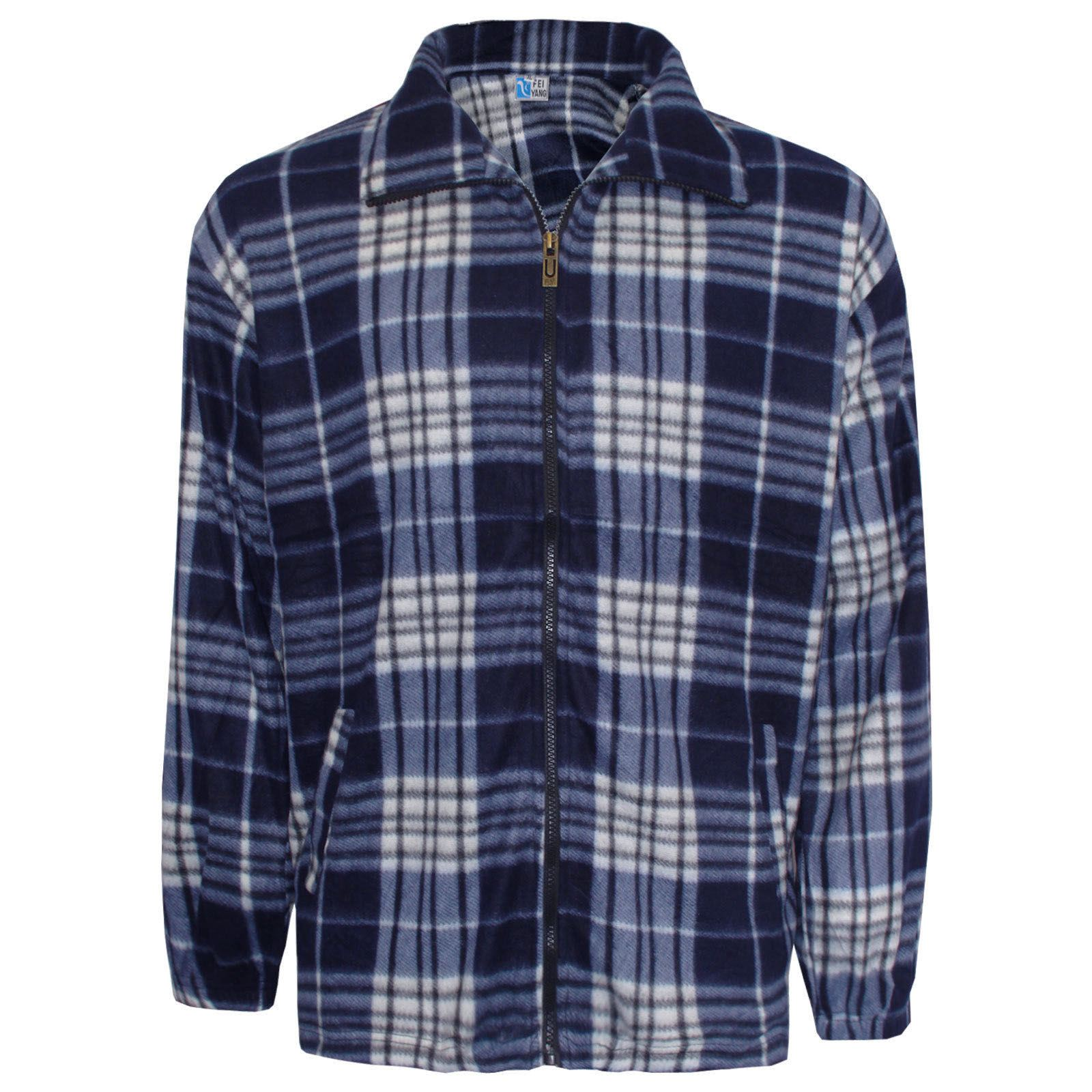 Mens lumber jack check print shirt winter warm work zip for Zip front flannel shirt